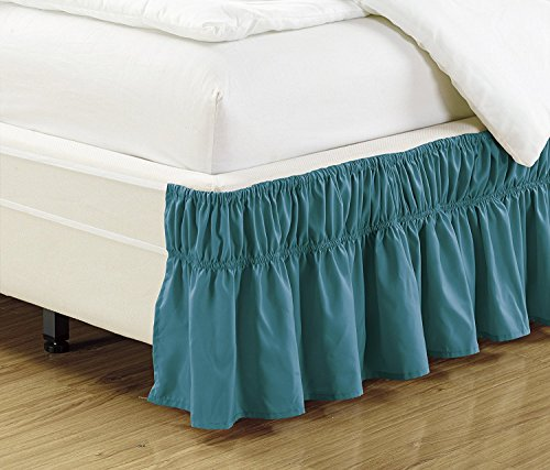"""Linen Plus Twin-Full Size Elastic Bed Skirt 14"""" Drop Easy On/Easy Off Dust Ruffled Solid Turquoise New"""