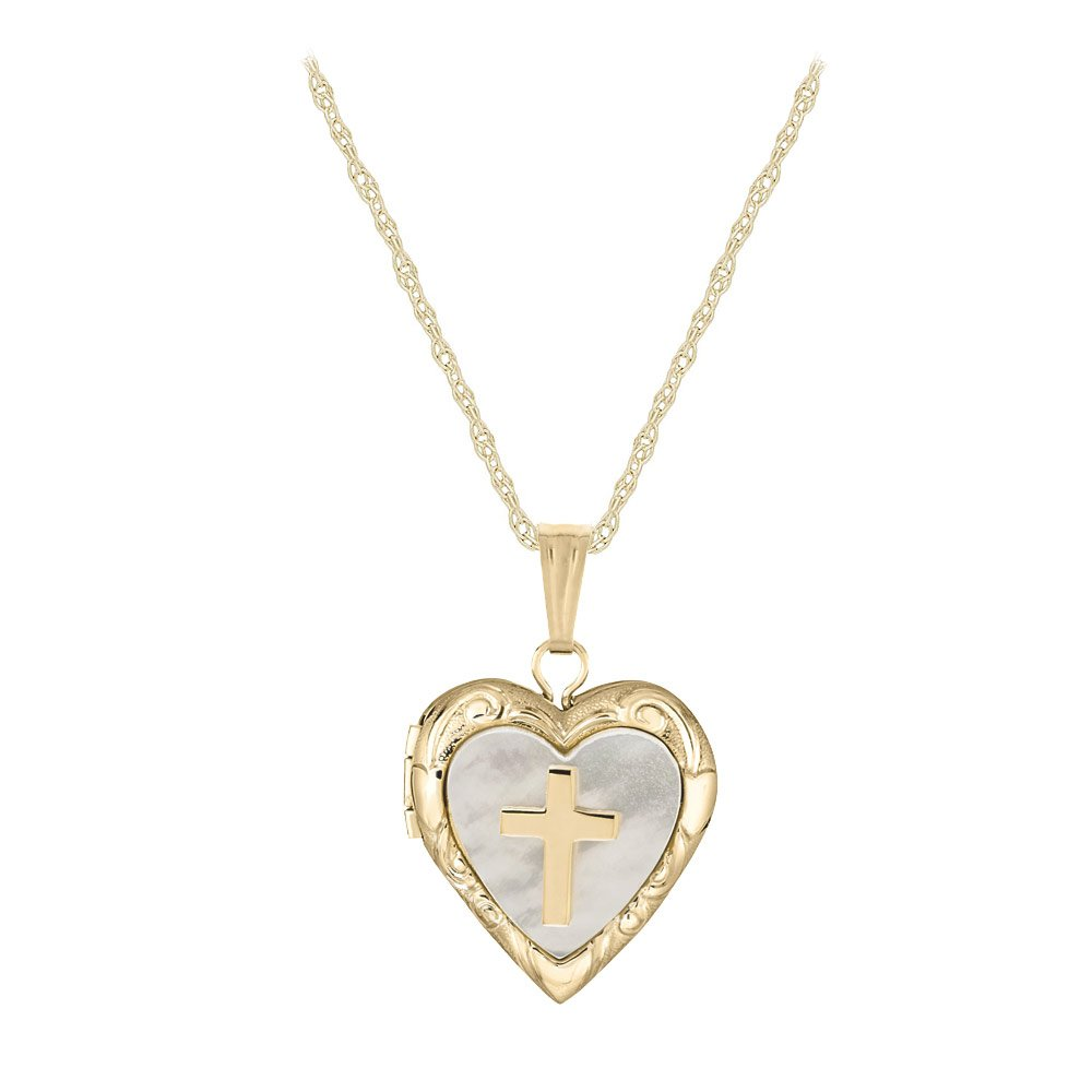 Child Jewelry - 14K Yellow Gold Mother of Pearl Cross Heart Locket Necklace (15 in) by Loveivy (Image #1)