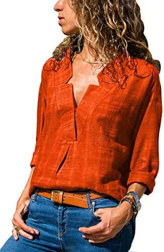 d096916ef Happy Sailed Women Casual V Neck Cuffed Sleeve Print Loose Fit T Shirt  Blouses Tops S