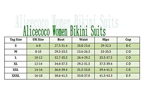 Alicecoco Traje de baño de los trajes de baño del bikiní de la alta costura de la vendimia de las mujeres Negro