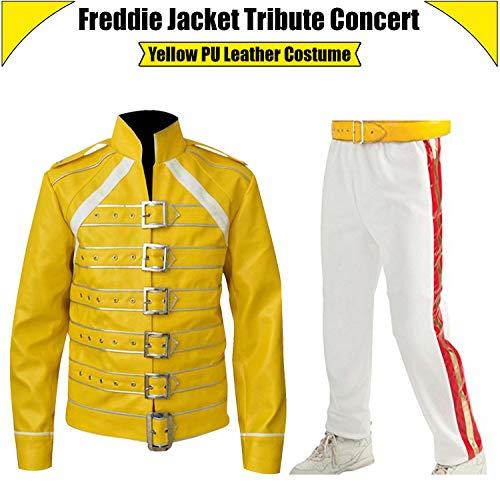 Freddie Mercury Tribute Concert Wembley Yellow PU Leather Jacket