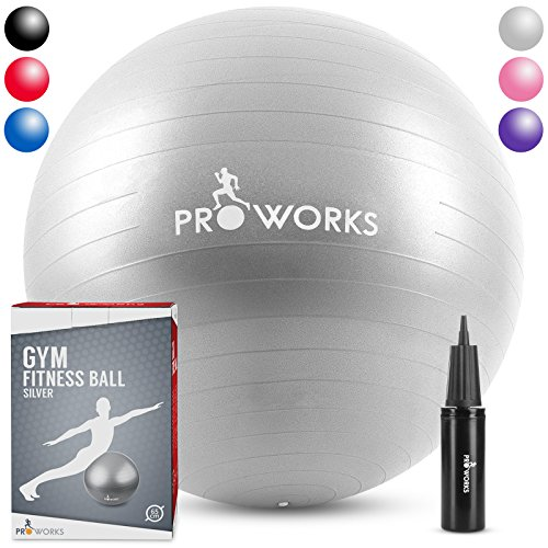 "Proworks Anti-Burst Exercise Ball 65cm / 25.5"" Heavy Duty Fitness Ball with Pump (Silver)"