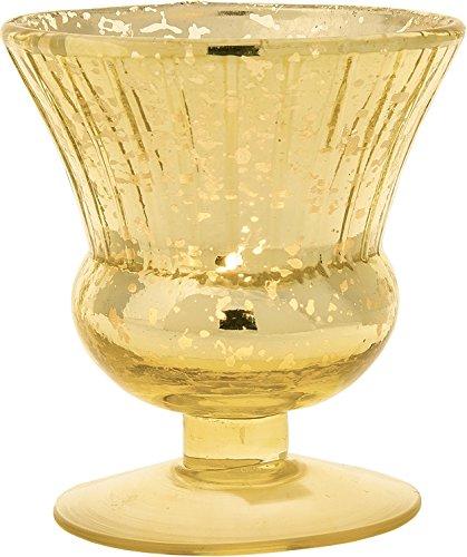 Cultural Intrigue Luna Bazaar Vintage Mercury Glass Vase (3.5-Inch, Olivia Design, Fluted Urn Gold) - Decorative Flower Vase - for Home Decor and Wedding Centerpieces (Vase Bud Fluted)