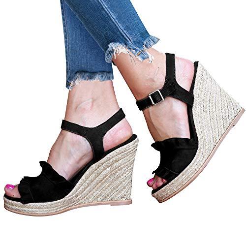 XMWEALTHY Women's Espadrille Wedge Sandals Stylish Velvet Ruffle Open Toe Ankle Strap High Heel Sandals Black US 9