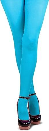 Bunte Strumpfhose Damen auch gro/ße Gr/ö/ßen Neon-Farben Zubeh/ör Accessoire Karneval Fasching Hochwertige Verkleidung Gr/ö/ße S//M T/ürkis Blickdicht und superweich