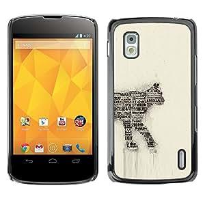 Qstar Arte & diseño plástico duro Fundas Cover Cubre Hard Case Cover para LG Google NEXUS 4 / Mako / E960 ( Cat Newspaper Art Number 35 India Feline)