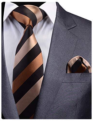 GUSLESON New Brown Black Men Tie Silk Striped Wedding Necktie and Pocket Square Set (0783-07) Black Striped Silk Necktie