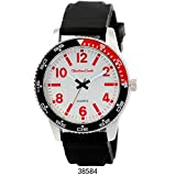 Montres Carlo Black Rubber Strap with Silver Case White/Red Dial