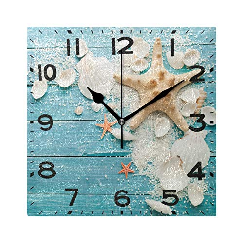 (Naanle 3D Beautiful Starfish Seashells on Summer Wooden Silent Square Wall Clock, 8 Inch Battery Operated Quartz Analog Quiet Desk Clock for Home,Office,School)