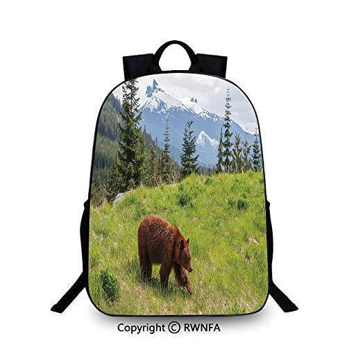 Notebook computer schoolbag,Wildlife up in the Mountains Theme Furry Animal Carnivore Yellowstone Nature Habitat Backpack Cool Children Bookbag, Green Brown ()