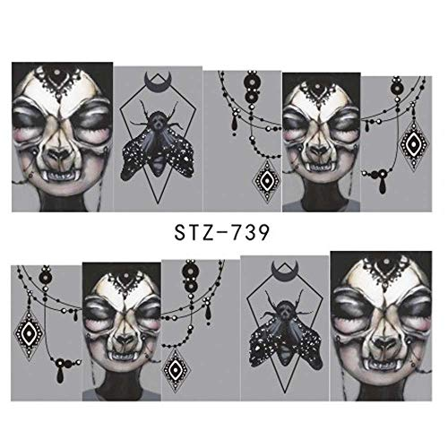 1X Halloween Nail Sticker Water Self Adhesive Nail Art Tattoo Big Eye Horror Decals For DIY Decor Wraps STZ739 -