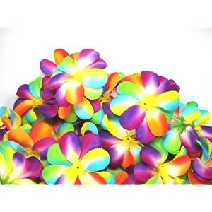 "(100) Rainbow Hawaiian Plumeria Frangipani Silk Flower Heads - 3"" - Artificial Flowers Head Fabric Floral Supplies Wholesale Lot for Wedding Flowers Accessories Make Bridal Hair Clips Headbands Dress 109"