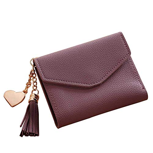 ID Brown Clutch Pocket Window Ladies Closure Pendant Cash Cute Billfold Wallet Card Design Button Coin QLTYPRI Purse Short Metal Heart Holder Tassel Women Loving Minimalist Girl's Bag Grey Simple Small qwWCWAO7P