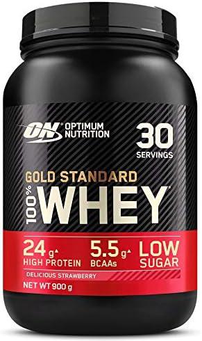 Optimum Nutrition Gold Standard 100% Whey Proteína en Polvo, Glutamina y Aminoácidos Naturales, BCAA, Fresa Deliciosa, 30 Porciones, 900g, Embalaje ...