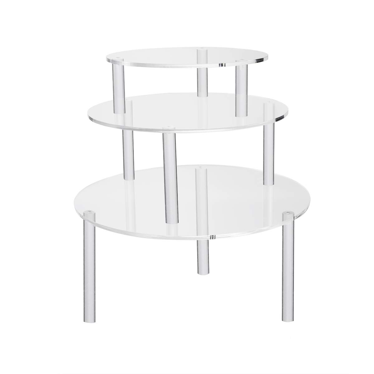 NIUBEE 3 Clear Round Acrylic Pedestal Display Risers Stand for Displaying Pizza, Cakes, Cupcakes, Danishes Pastries (8, 10, 12 inches) by NIUBEE