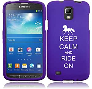 Samsung Galaxy S4 ACTIVE i537 Snap On 2 Piece Rubber Hard Case Cover Keep Calm and Ride On Horse (Purple)