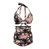 Womens Chic Retro 50s Floral Halter High Waist Bikini Carnival Swimsuit Bathing Suit