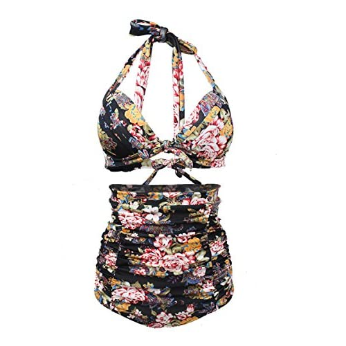 Top DoLoveY Womens Chic Retro 50s Floral Halter High Waist Bikini Carnival Swimsuit Bathing Suit hot sale