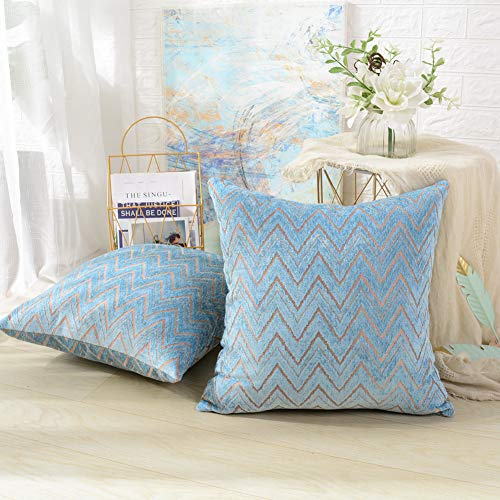 MERNETTE Pack of 2, Chenille Soft Decorative Square Throw Pillow Cover Cushion Covers Pillowcase, Home Decor Decorations for Sofa Couch Bed Chair 18x18 Inch/45x45 cm (Wave Blue)