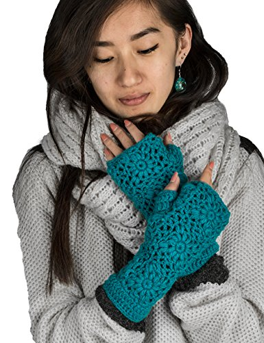 100% Wool Fingerless Gloves Arm Warmer Winter Warm Fleece Lining Gloves Hand Knit Crochet Woman Cable Thumb Hole (Knitted Fingerless Gloves)