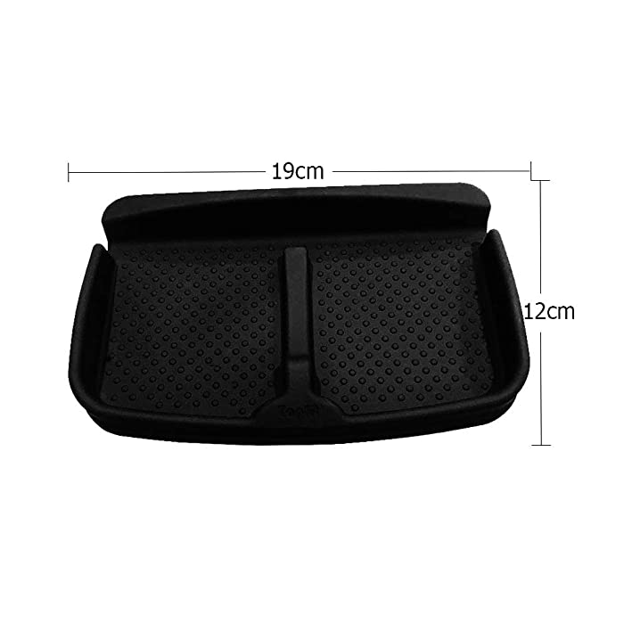 Car Anti-Slip Durable Silicone Universal Fit Compatible Tesla Model S Model X Model 3 Container Dashboard Pad Storage Mat, Cell Phone Holder, Sun Glasses Stand,GPS Navigation Holder,Cards pad (Black)