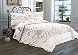 quilted bedcover - 3 Piece Quilt Set with Shams Reversible Bedspread Matelasse Bedcover Double-Sided Bedding Coverlet Lightweight Comforter Linen Looking Luxurious Bed Cover (Flower Garden-Full-Queen)