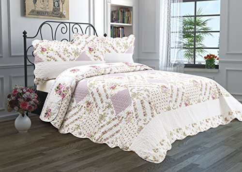 3 Piece Quilt Set with Shams Reversible Bedspread Matelasse Bedcover Double-Sided Bedding Coverlet Lightweight Comforter Oversized Linen Looking Luxurious Bed Cover (King, Flower Garden) (King Quilt Clearance)