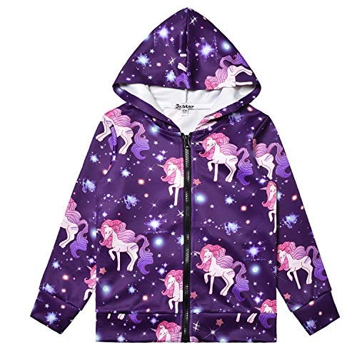 Hoodie for Girls Unicorn Zip Up Jackets Sweatshirt Navy Blue Tops Outfit
