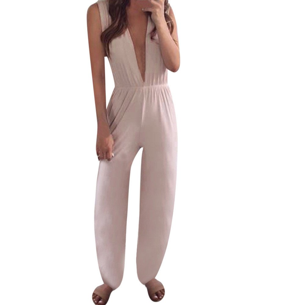 TAGGMY Jumpsuits for Women for Holiday, V-Neck Overalls Spaghetti Strap Wide Legs Rompers Playsuits Ladies Pants Pink