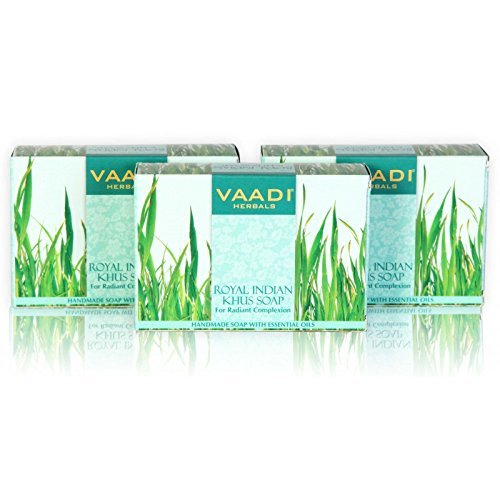 Vetiver Soap (Royal Indian Khus Bar Soap) with Olive and Soybean Oil - Handmade Herbal Soap (Aromatherapy) with 100% Pure Essential Oils - ALL Natural - For Radiant Complexion - Each 2.65 Ounces - Pack of 3 (8 Ounces) - Vaadi Herbals