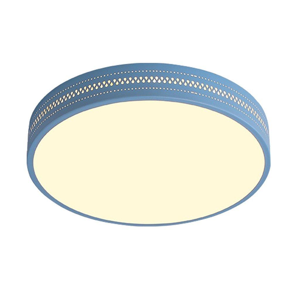 Joeyhome Macaron moderne einfache Deckenleuchte Runde Deckenleuchte Acryl Lampenschirm Foyer Kinderzimmer Deckenleuchte Leuchte, Blau, Durchmesser 38cm Warmweiß