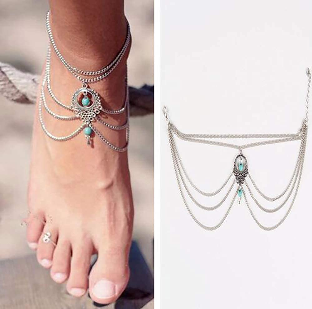 Missgrace Silver Infinity Anklet Foot Chain Beach Jewelry Bohemian Anklet Layer Anklet Jewelry for Woman and Girls