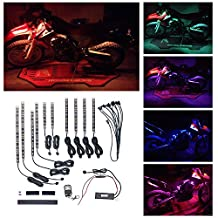 Ptatoms Wireless Remote Controller Million Colors Accent Neon 102 LED lights 10pcs 15 Color RGB LED Flexible Motorcycle Lights Kit
