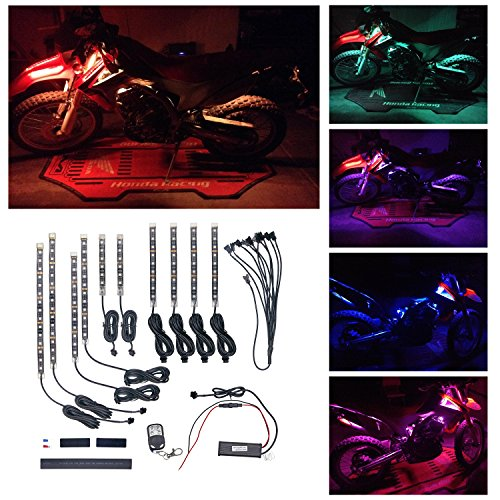 Ptatoms Wireless Remote Controller Million Colors Accent Neon 102 LED lights 10pcs 15 Color RGB LED Flexible Motorcycle Lights Kit (Motorcycle Accent Led Lights compare prices)