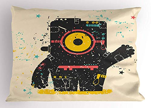 K0k2t0 Modern Pillow Sham, Alien Robot Machine Like Creature Saying Hello Greeting with Stars Artful Image, Decorative Standard Queen Size Printed Pillowcase, 30 X 20 inches, -