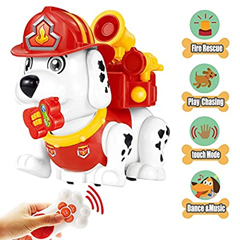 Electronic Pet Dog Remote Control Firehouse Puppy Educational and Interactive Smart Toy for Girls and Boys 3 Year Old and Up with Sounds,Dance and (Push Button Sound Maker)
