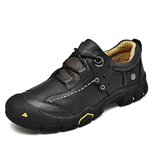 CEKU Men's Walking Outdoor Hiking Casual Leather Sneakers Work Breathable Sports Trekking Running Shoes Black 11 D(M) US 46
