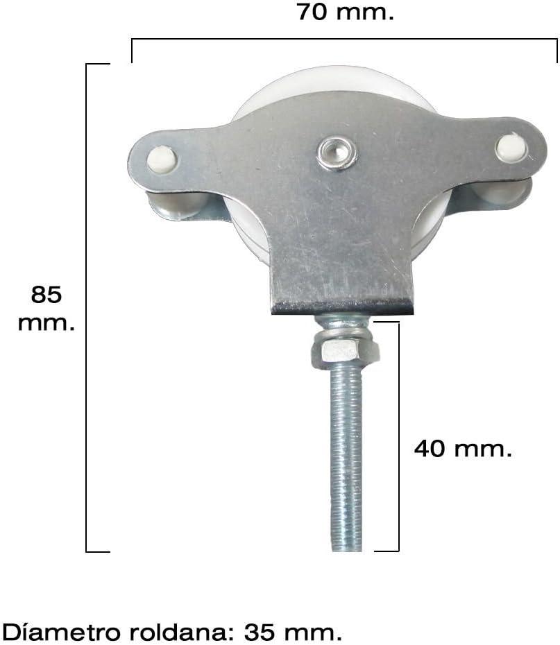 Laufrolle aus Kunststoff mit Schraube WOLFPACK 5120499 Flaschenzug f/ür W/äscheleine verzinkt 40/mm