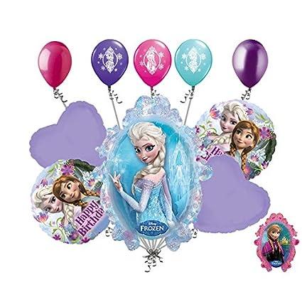 Amazon.com: 10 pc Disney Frozen feliz cumpleaños ramo de ...