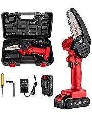 Mini-Kettingzaag, 4-inch Elektrische Kettingzaag Handheld Mini-Snoeischaar Kettingzaag voor Het Trimmen van Bomen Houtsnijden, Oplader Inbegrepen (Rood)