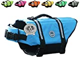 Vivaglory Dog Life Jacket Size Adjustable Dog Lifesaver Safety Reflective Vest Pet Life Preserver, Blue, Small