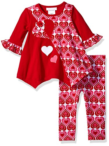 Bonnie Baby Baby Girls' Two Piece Heart Printed Knit Playwear Set, Red, 12 m (2 Piece Printed Hearts)