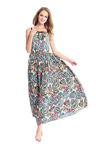 Print Maxi Dress Party DILANNI Flowy Beach Floral Women's Color 08 Sleeveless Summer qwcrUwTZOX