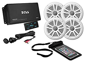 BOSS AUDIO ASK904B.64 Marine Package Includes 500 Watt Max 4-channel Bluetooth Amplifier, Two Pair 6.5 inch MR6W Marine Speakers, Universal USB cable and Phone Pouch
