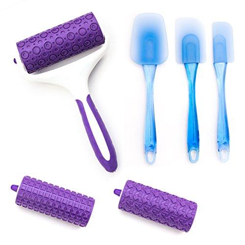 Lantelme 5808 Silikon Teigroller - Fondant mit 3 Einsätzen und Teigspachtel Set. Farben weiss - violett - blau
