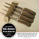 Set of 4 Antler handled steak knives with an antler knife rest (Beige)