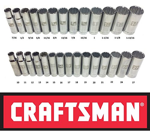 Craftsman Laser Etched Easy Read 28 Piece SAE & Metric 1/2