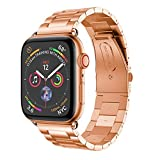 For Apple Watch Series 4 Watch Band Replacement Stainless Steel Wirst Sport Strap For Apple Watch Series 4 40mm /44mm (40mm, Rose Gold)