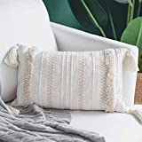 blue page Lumbar Small Decorative Throw Pillow Covers for Couch Sofa Bedroom Living Room, Woven Tufted Boho Cushion Cover, Cute Rectangle Pillow Cases with Tassels (12X20 inch, Cream)