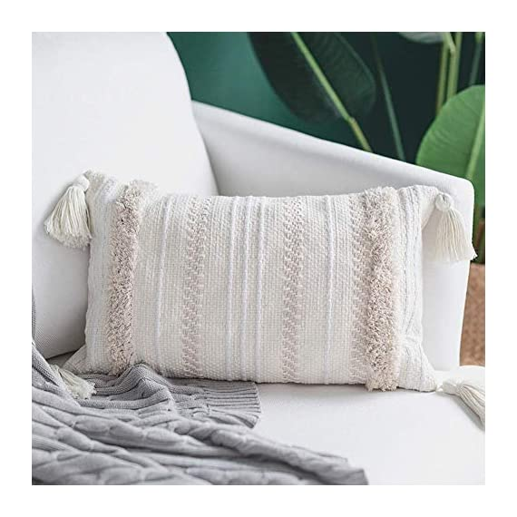 blue page Lumbar Small Decorative Throw Pillow Covers for Couch Sofa Bedroom Living Room, Woven Tufted Boho Pillows Cover with Tassels, Cute Farmhouse Pillows Case (12X20 inch, Yellowy Cream) - ✰ UNIQUE MODERN DESIGN: These pillow covers have a designer look and feel, will stands out in the mix. Fantastic quality will absolutely exceed your expectations. A textile fabric with an interesting and tribal design. Pairs well with Moroccan, Ethnic, Retro and Shabby Chic style decors. Choose only classic colors using weaving, tufting, tassels craftsmanship, warm and comfortable. ✰ FEATURES - The invisible zipper helps easily on and off. Absolutely adorable and nice decorative pillow cover. Thick fabric(weight 0.66 lb), really supports your back well, great design, good quality. The perfect boho looks pillow cover, fits perfectly and adds excellent texture to your collection of throw pillows. ✰ PERFECT GIFT - We offer YOU the best quality and workmanship with these cushion covers. Super cute and very attractive design, these will last you many fun occasions and seasons to come, will also make a PERFECT GIFT for your loved ones during Housewarming, Thanksgiving or Christmas, to decor your living room, bedroom, sofa, couch, car seat, floor, bench, office, a coffee shop, etc. - living-room-soft-furnishings, living-room, decorative-pillows - 51HgbentBkL. SS570  -